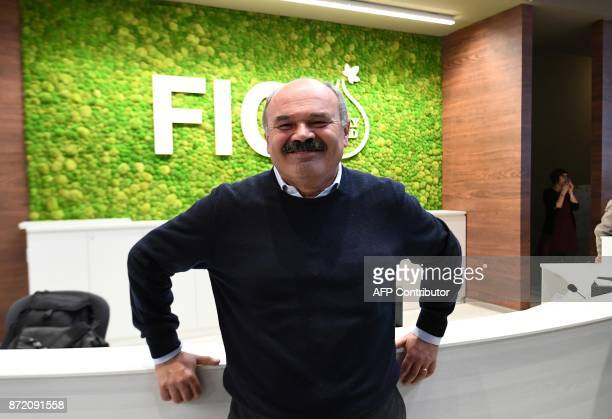 Oscar Farinetti Italian businessman founder of Italian food mall chain Eataly and creator of FICO poses during a press tour at FICO Eataly World...