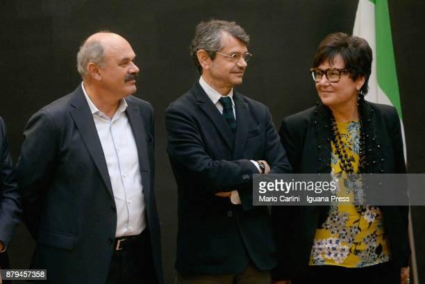 Oscar Farinetti President of Eataly and Andrea Segre President of FICO and Tiziana Primori CEO Eataly attends the FICO Eataly World Agri Food park...