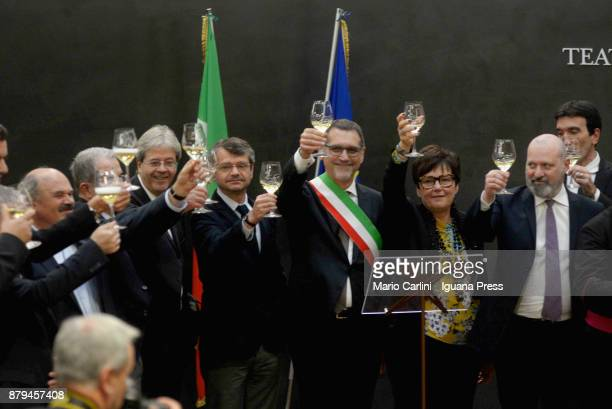 Oscar Farinetti President of Eataly and the ex italian Prime Minister Romano Prodi and the italian Prime Minister Paolo Gentiloni and Andrea Segre...