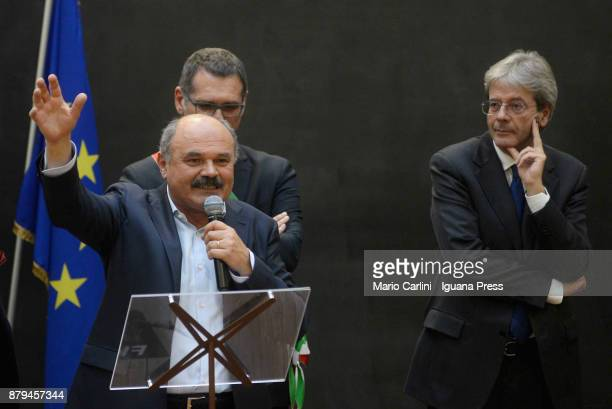Oscar Farinetti President of Eataly holds his speech with Virginio Merola Mayor of Bologna and the italian Prime Minister Paolo Gentiloni during the...