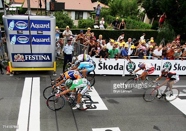 Oscar Freire of Spain and Rabobank sprints for the finish line as he wins stage 9 of the 93rd Tour de France from Bordeaux to Dax on July 11 2006 in...
