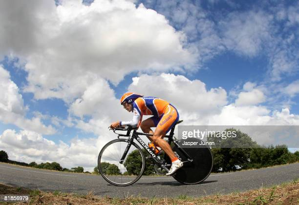 Oscar Freire of Spain and team Rabobank in action during the first time trail of the 2008 Tour de France on July 8, 2008 in Cholet, France.
