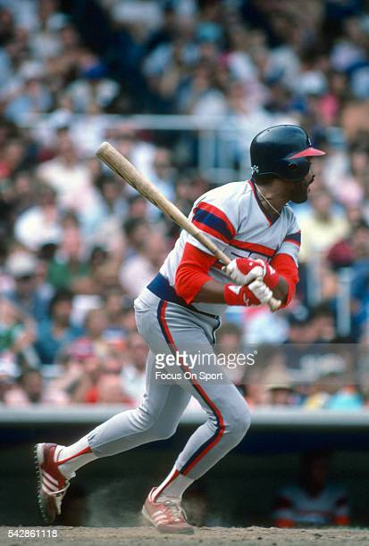 Oscar Gamble of the Chicago White Sox bats against the New York Yankees during a Major League Baseball game circa 1985 at Yankee Stadium in the Bronx...