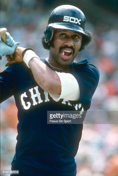 Oscar Gamble of the Chicago White Sox looks on from the ondeck circle against the Baltimore Orioles during a Major League Baseball game circa 1977 at...