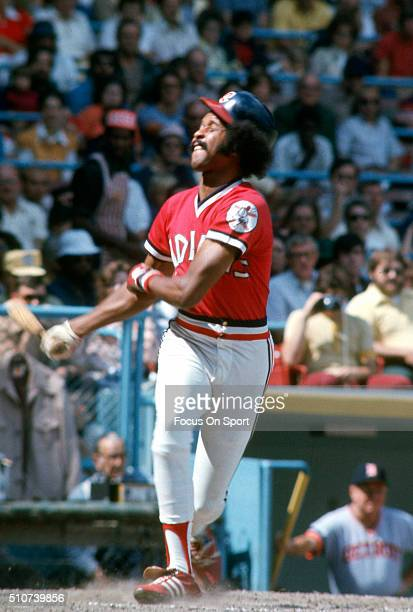 Oscar Gamble of the Cleveland Indians bats against the Detroit Tigers during a Major League Baseball game circa 1973 at Cleveland Municipal Stadium...