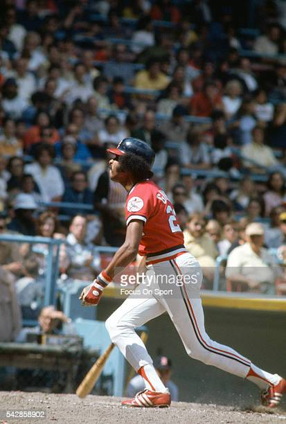 Oscar Gamble of the Cleveland Indians bats against the Detroit Tigers during a Major League Baseball game circa 1975 at Cleveland Municipal Stadium...