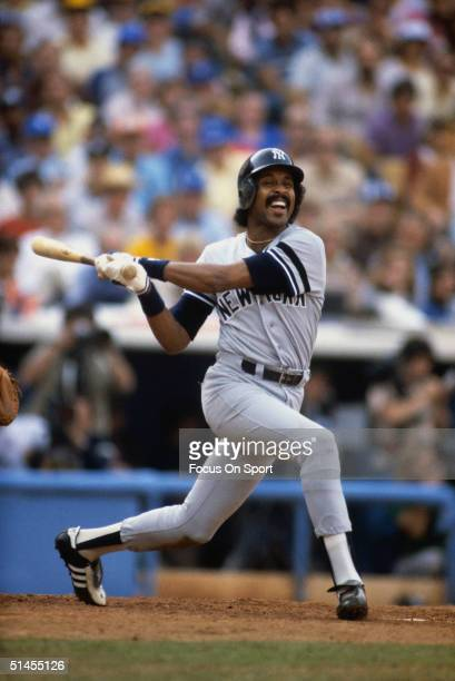 Oscar Gamble of the New York Yankees bats against the Los Angeles Dodgers during the World Series at Dodger Stadium in Los Angeles California in...
