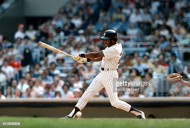 Oscar Gamble of the New York Yankees bats during an Major League Baseball game circa 1976 at Yankee Stadium in the Bronx borough of New York City...