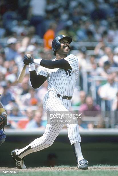 Oscar Gamble of the New York Yankees bats during an Major League Baseball game circa 1982 at Yankee Stadium in the Bronx borough of New York City...
