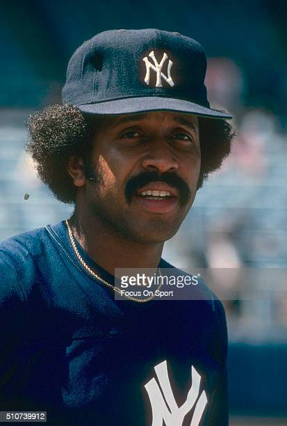 Oscar Gamble of the New York Yankees looks on during batting practice prior to the start of a Major League Baseball game circa 1981 at Yankee Stadium...
