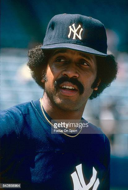 Oscar Gamble of the New York Yankees looks on prior to the start of a Major League Baseball game circa 1982 at Yankee Stadium in the Bronx borough of...