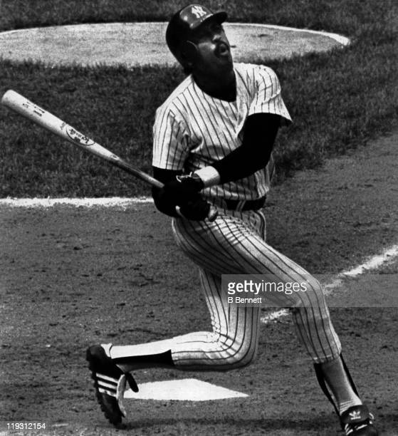 Oscar Gamble of the New York Yankees swings and misses at a pitch during the 8th inning against the Seattle Mariners on June 4 1983 at Yankee Stadium...