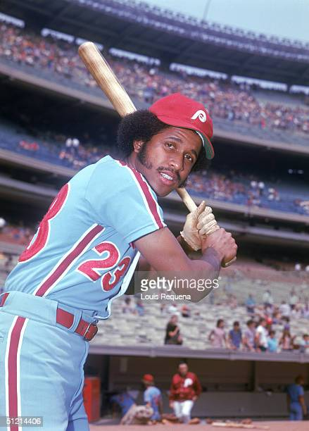 Oscar Gamble of the Philadelphia Phillies poses for an action portrait Oscar Gamble played for the Philadelphia Phillies from 19701972