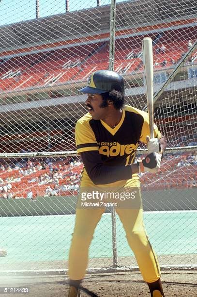 Oscar Gamble of the San Diego Padres stands ready at the plate during practice before a April 9 1978 season game Oscar Gamble played for the San...