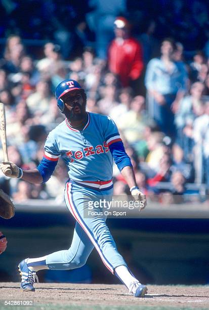 Oscar Gamble of the Texas Rangers bats against the New York Yankees during a Major League Baseball game circa 1979 at Yankee Stadium in the Bronx...