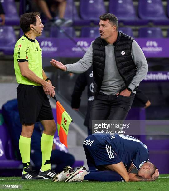 Oscar Garcia, head coach and Iago Aspas of RC Celta reacts during the La Liga Santander match between Real Valladolid CF and RC Celta at Estadio...