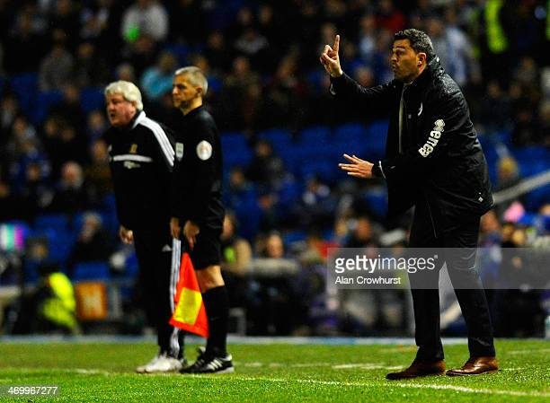 Oscar Garcia of Brighton gives instructions from the touchline during the FA Cup fifth round match between Brighton Hove Albion and Hull City at Amex...
