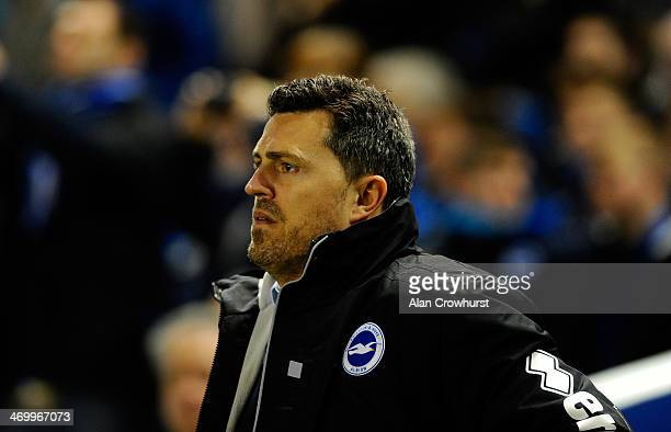 Oscar Garcia of Brighton looks on during the FA Cup fifth round match between Brighton Hove Albion and Hull City at Amex Stadium on February 17 2014...