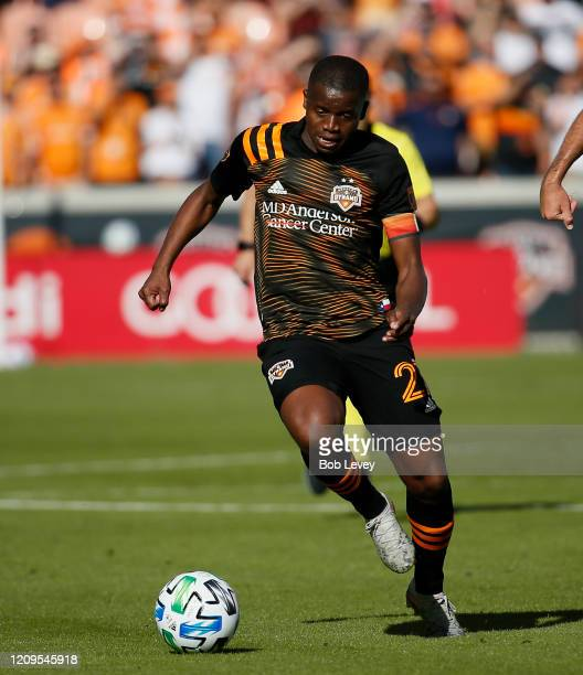 Oscar Garcia of Houston Dynamo rushes upfield with the ball during the second half against the Los Angeles Galaxy at BBVA Stadium on February 29 2020...