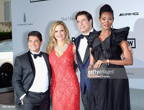 Oscar Generale actors John Travolta Kelly Preston and Danny Mendez attend amfAR's 21st Cinema Against AIDS Gala Presented By WORLDVIEW BOLD FILMS And...