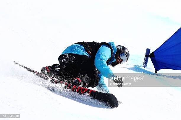 Oscar Gonzalez of Spain competes in the Men's Banked Slalom Lower Limb 1 Imp final during the Winter Games NZ Para Snowboard Banked Slalom World Cup...