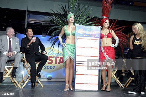 Oscar Goodman and Wayne Newton make their AllStar Ballot Votes with Porsha Revesz and Jennifer Gagliano at the 2007 NBA AllStar Balloting Launch and...
