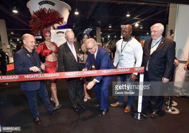 Oscar Goodman, Ron Jaworsk and Victor Cohen attend day two of the 33rd annual Nightclub & Bar Convention and Trade Show on March 27, 2018 in Las...