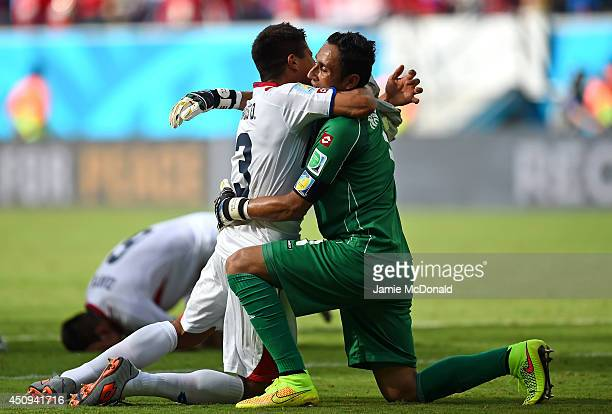 Oscar Granados and Keylor Navas of Costa Rica celebrate after defeating Italy 10 during the 2014 FIFA World Cup Brazil Group D match between Italy...