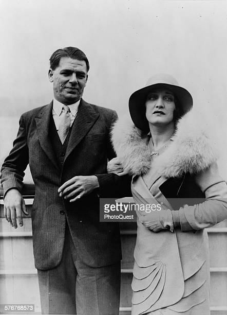 Oscar Hammerstein II New York theatrical producer shown with Mrs Hammerstein as they arrive from Europe on the SS Majestic New York New York 1929