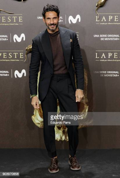 Oscar Higares attends the 'La peste' premiere at Callao cinema on January 11 2018 in Madrid Spain