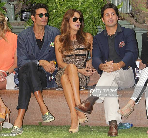 Oscar Higares Jacqueline de la Vega and Francisco Rivera attend photocall Emidio Tucci new collection 2015 presentation on July 14 2014 in Madrid...