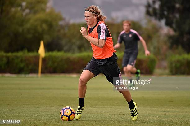 Oscar Hiljemark in action during a US Citta' di Palermo training session at Carmelo Onorato training center at Campo Tenente Onorato on October 19...