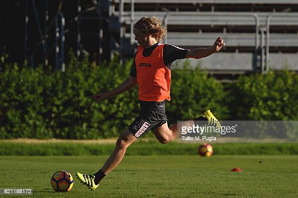 Oscar Hiljemark in action during a US Citta' di Palermo training session at Tenente Carmelo Onorato Sports Center on November 4 2016 in Palermo Italy