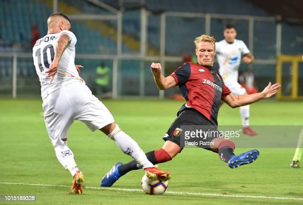 Oscar Hiljemark of Genoa and Franco Lepore of Lecce during the Coppa Italia match between Genoa CFC and Lecce at Stadio Luigi Ferraris on August 11...