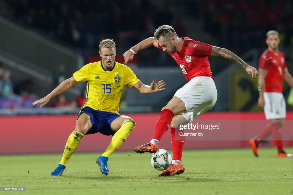 Oscar Hiljemark of Sweden and Peter Zulj of Austria during the International Friendship game between Austria and Sweden at the Generali Arena on September 06, 2018 in Vienna, Austria.