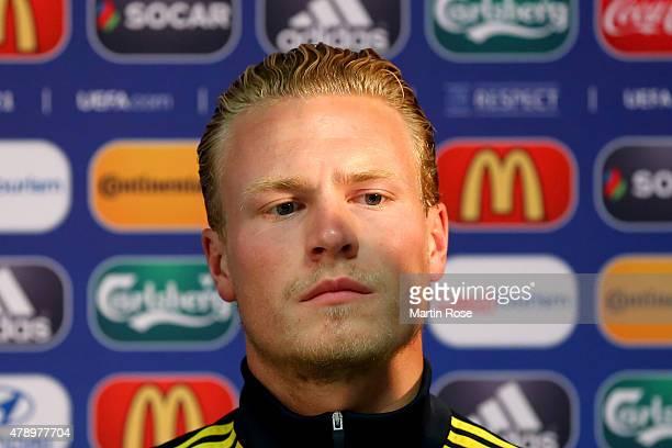 Oscar Hiljemark of Sweden attends a UEFA press conference ahead of the UEFA European Under21 final match against Portugal at Eden Stadium on June 29...