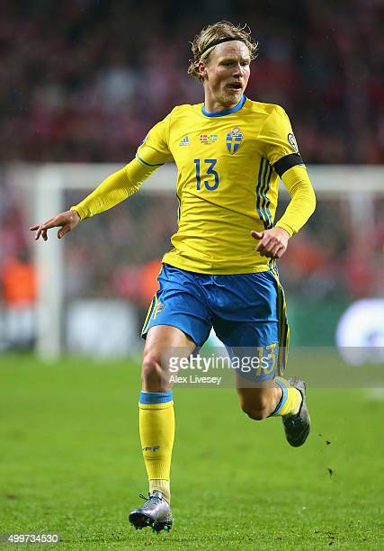 Oscar Hiljemark of Sweden during the UEFA EURO 2016 Qualifier PlayOff Second Leg match between Denmark and Sweden at Parken Stadium on November 17...