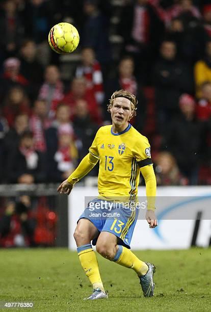Oscar Hiljemark of Sweden in action during the UEFA EURO 2016 qualifier playoff second leg match between Denmark and Sweden at Telia Parken stadium...