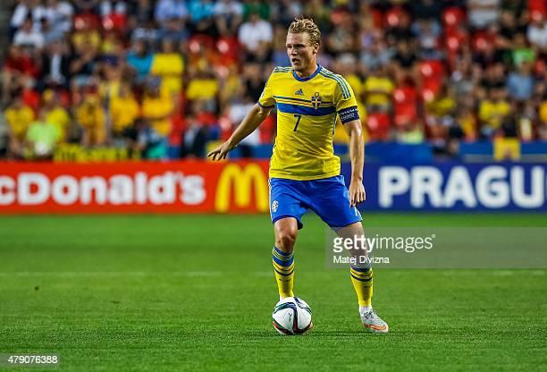 Oscar Hiljemark of Sweden in action during UEFA U21 European Championship final match between Portugal and Sweden at Eden Stadium on June 30 2015 in...