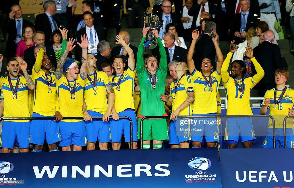Oscar Hiljemark of Sweden lifts the trophy after winning the UEFA European Under-21 final match between Sweden and Portugal at Eden Stadium on June 30, 2015 in Prague, Czech Republic.