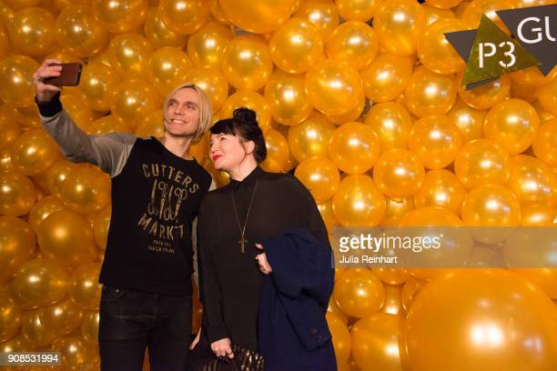 Oscar Humlebo and Petra Fors arrive at the P3 Guld Gala Swedish Radio's celebration of the best in Swedish Music on January 20 2018 at Partille...
