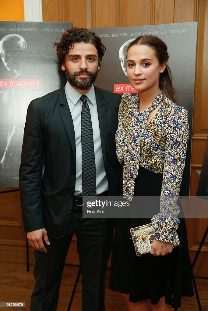 Oscar Isaac (L) and Alicia Vikander attend 'Ex Machina' New York Premiere at Crosby Street Hotel on April 6, 2015 in New York City.