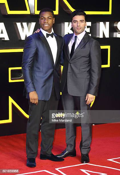 Oscar Isaac and John Boyega attend the European Premiere of 'Star Wars The Force Awakens' at Leicester Square on December 16 2015 in London England