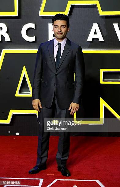 Oscar Isaac attends the European Premiere of Star Wars The Force Awakens at Leicester Square on December 16 2015 in London England
