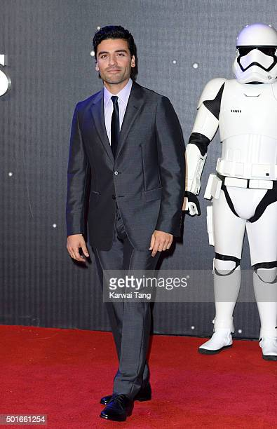 Oscar Isaac attends the European Premiere of 'Star Wars The Force Awakens' at Leicester Square on December 16 2015 in London England