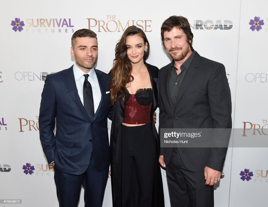 Oscar Isaac, Charlotte Le Bon and Christian Bale attend the New York Screening of 'The Promise' at The Paris Theatre on April 18, 2017 in New York City.