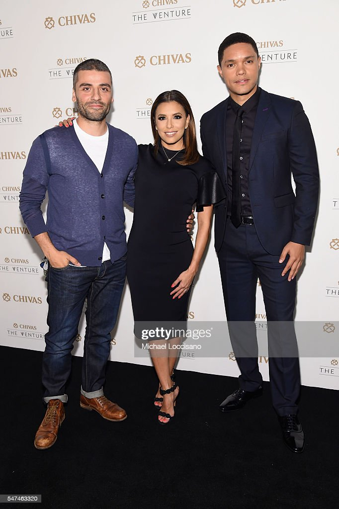 Oscar Isaac, Eva Longoria and Trevor Noah attend Chivas' The Venture Final Event on July 14, 2016 in New York City.