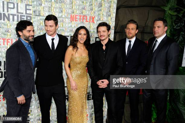Oscar Isaac Garrett Hedlund Adria Arjona Pedro Pascal Charlie Hunnam and Ben Affleck attend Triple Frontier World Premiere at Jazz at Lincoln Center...