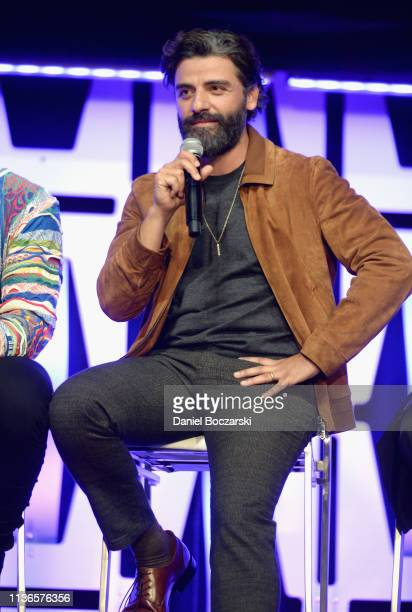 Oscar Isaac onstage during The Rise of Skywalker panel at the Star Wars Celebration at McCormick Place Convention Center on April 12 2019 in Chicago...