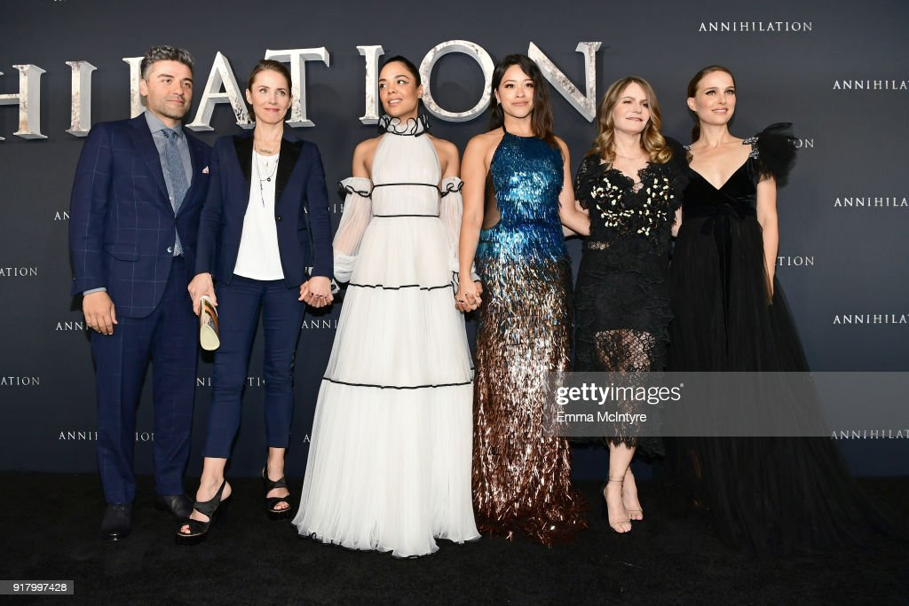 Oscar Isaac, Tuva Novotny, Tessa Thompson, Gina Rodriguez, Jennifer Jason Leigh, and Natalie Portman attend the premiere of Paramount Pictures' 'Annihilation' at Regency Village Theatre on February 13, 2018 in Westwood, California.